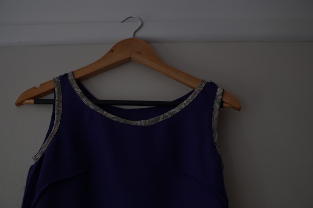 Self-drafted dropped waist purple dress inside out