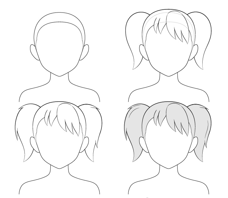 cara Menggambar Anime Pigtails
