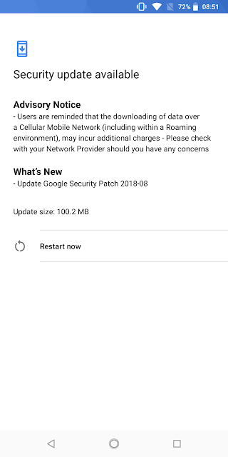 Nokia 7 plus August 2018 Android Security update