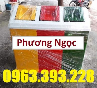 Thùng rác 3 ngăn phân loại rác, thùng rác 3 ngăn nhựa composite TR3N4