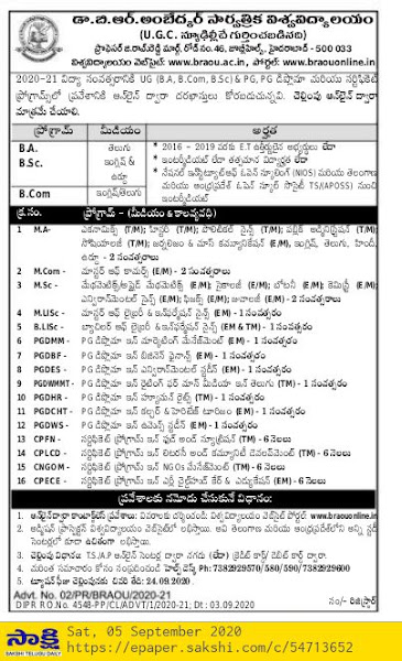 BRAOU Admission Notification 2020