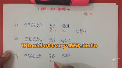 Thai lottery 3UP digit VIP formula numbers 01 October 2018