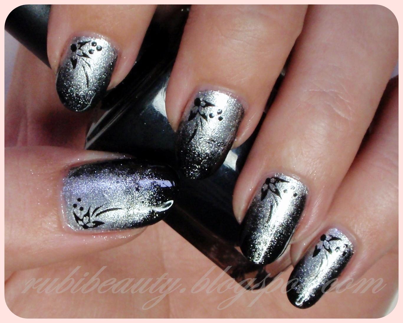 RubiBeauty: Nail Art | Silver & Black Irregular Gradient