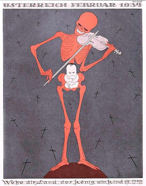 a Karl Arnold 1934 illustration of a skeleton musician