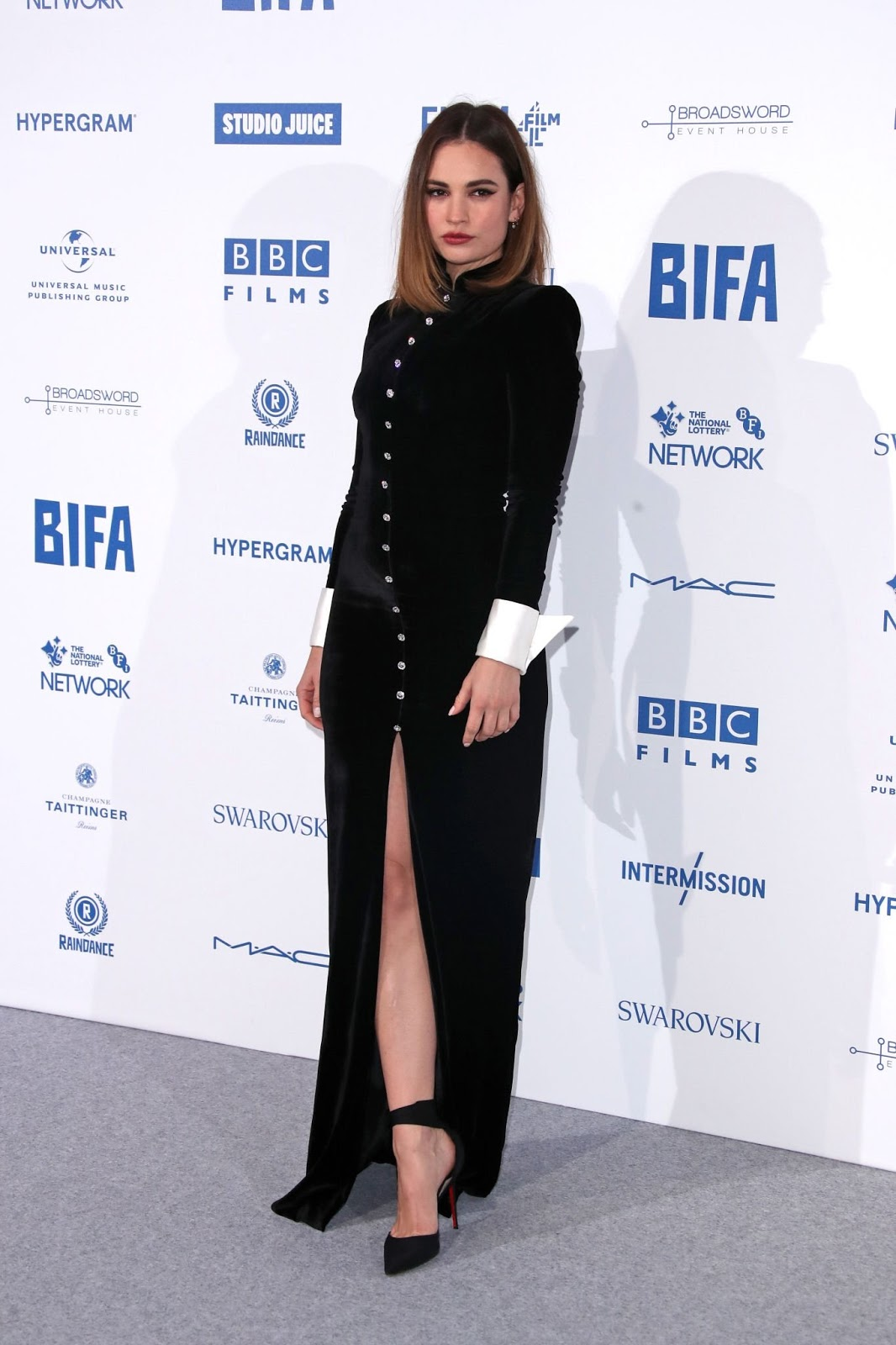 Lily James arrives at the British Independent Film Awards following Matt Smiths breakup