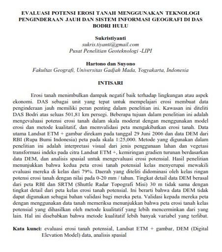 Evaluasi Potensi Erosi Tanah Menggunakan Teknologi Penginderaan Jauh [Paper]