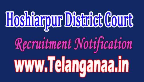 Hoshiarpur District Court of Judge Recruitment Notification 2016