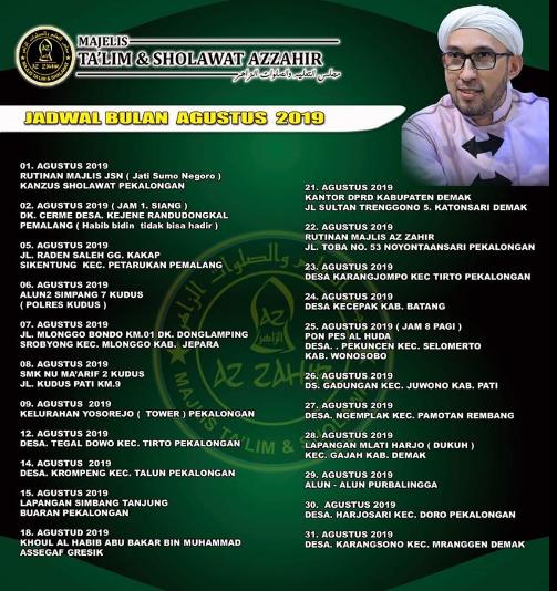 Jadwal Az Zahir Pekalongan Bulan Agustus 2019