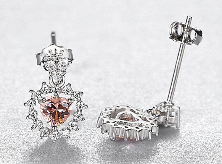 珊瑚橘愛心人造寶石 925純銀鋯石耳環