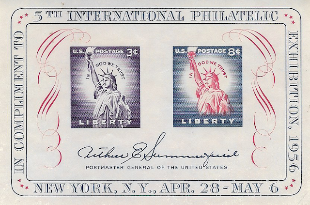 1956 Statue Of Liberty Souvenir Sheet 3c & 8c Fipex Sheet