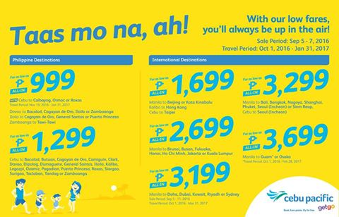 Cebu Pacific Low Fare 2017