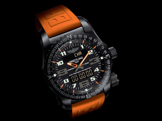 BREITLING NIGHT MISSION naranja frontal debajo del reloj blog