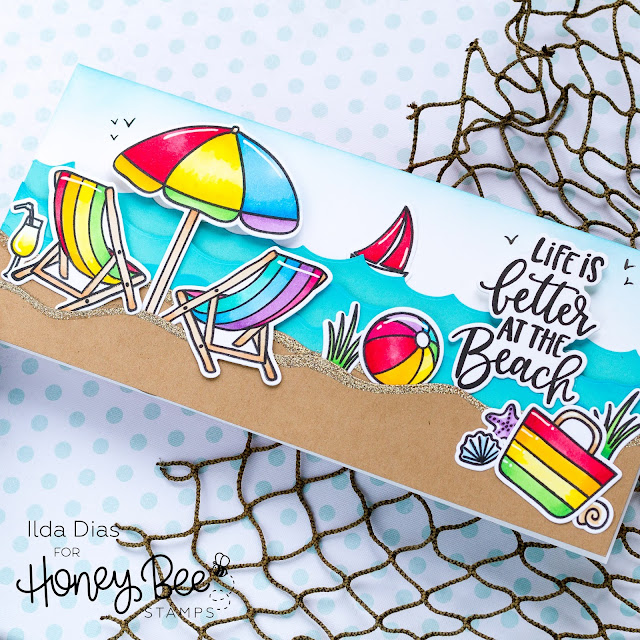 Hello Summer, Sneak Peeks, Beach Slimline Scene Card, Honey Bee Stamps, Rainbow, Copics, Card Making, Stamping, Die Cutting, handmade card, ilovedoingallthingscrafty, Stamps, how to,