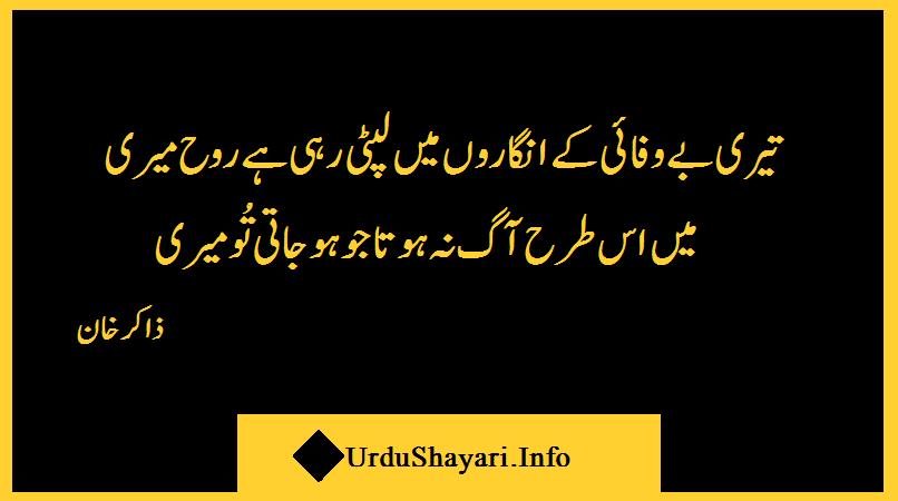Poetry in Urdu Teri Bewafai Ke Angaro Mie - 2 lines shayari by zakir khan