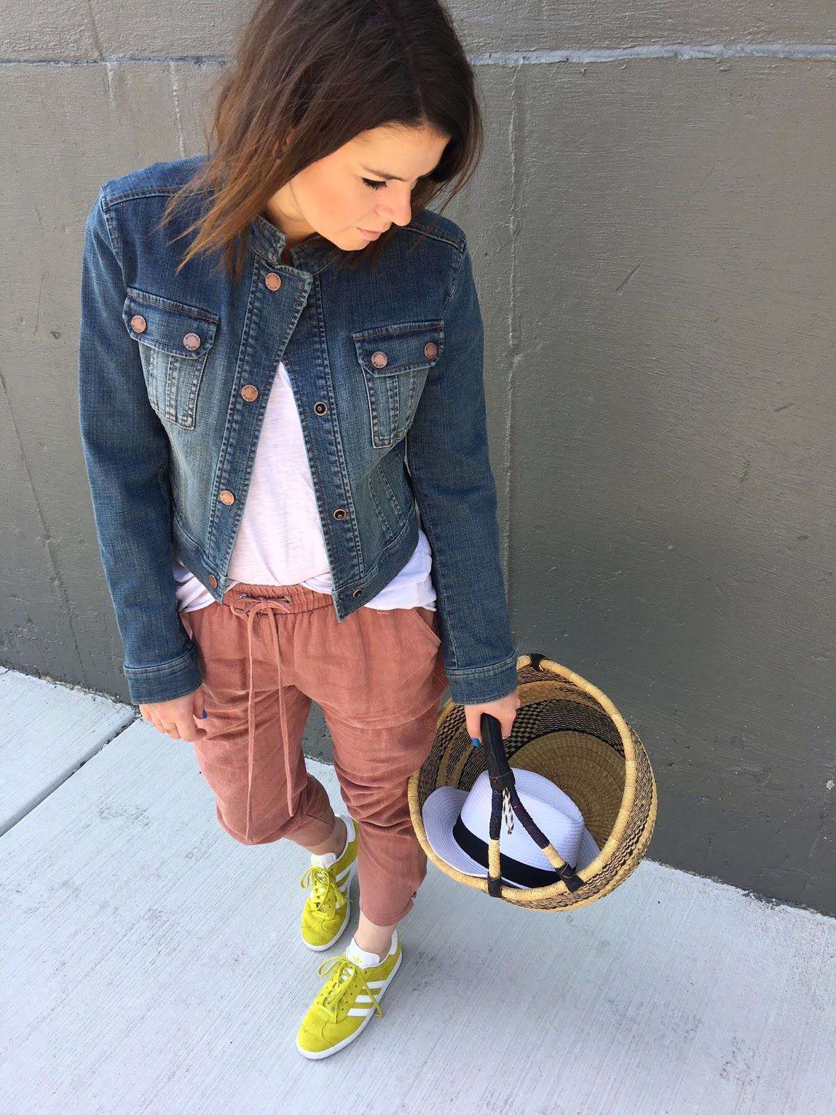 Basket bag denim jacket and linen pants