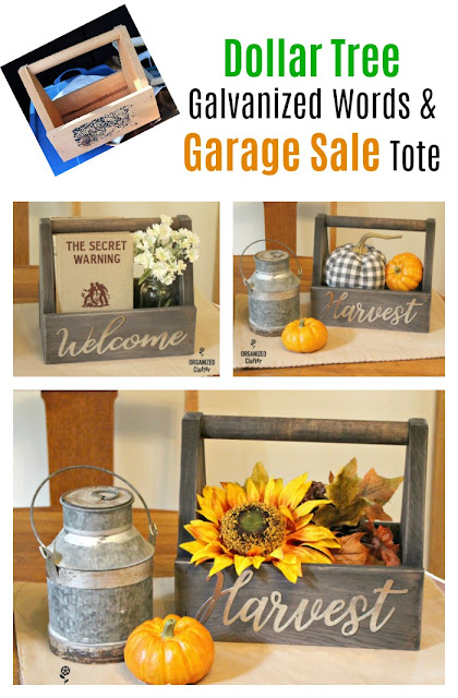 Garage Sale Tote Upcycle With Dollar Tree Galvanized Fall Words #garagesalefinds #upcycle #woodentote #falltote #galvanizedword #falldecor #fallfarmhousedecor #dollartree