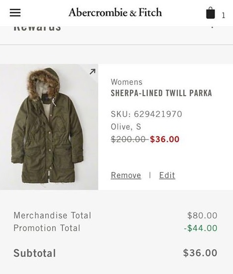 Abercrombie: Sherpa-Lined Twill Parka only $36 (reg $200) + Free Shipping!