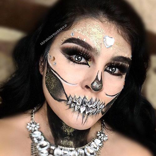 maquillaje de calavera mexicana con glitter