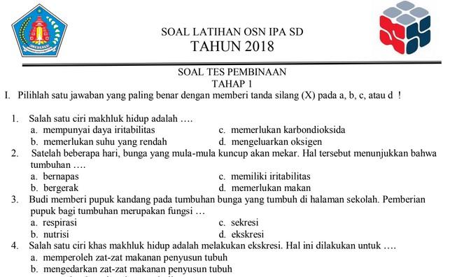 Latihan Soal OSN IPA SD 2018