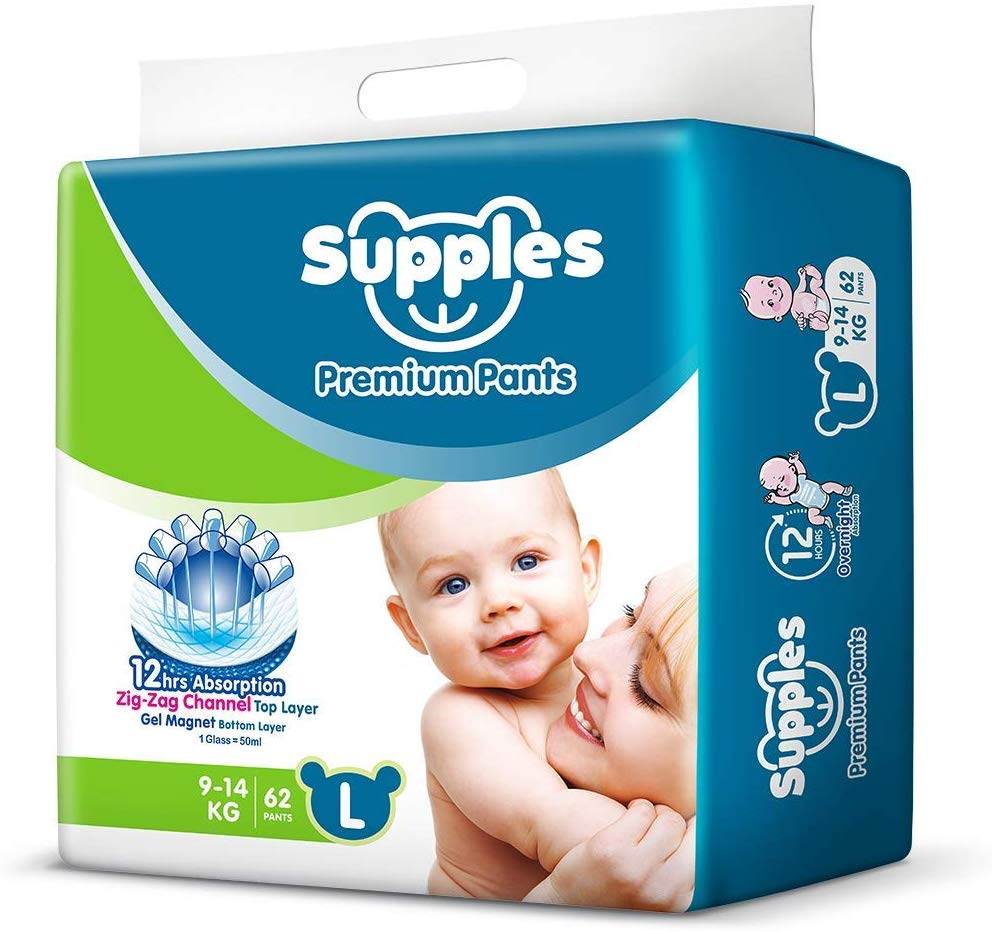 Buy Supples Baby Pants Diapers, Large, 62 Count at Rs. 535 From Amazon