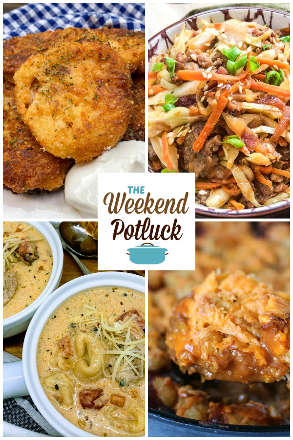 A virtual recipe swap with Mashed Potato Cakes, Egg Roll in a Bowl, Slow Cooker Creamy Tortellini Sausage Soup, Chili Tater Tot Casserole and more!