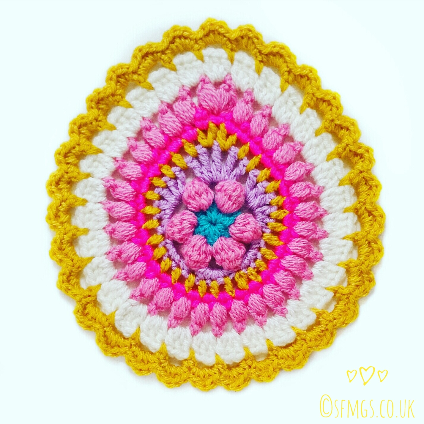 Free Crochet Pattern   Easter Egg Mandala For Placemats, Coasters And Easter Bunting Flags