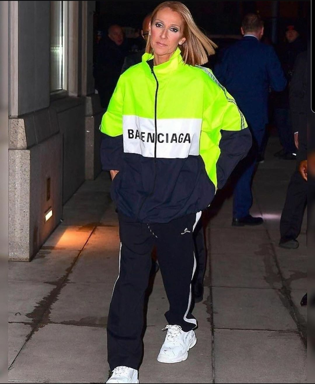 Celine Dion proves she's one of the cool kids as she rocks neon Balenciaga streetwear after her concert in NYC