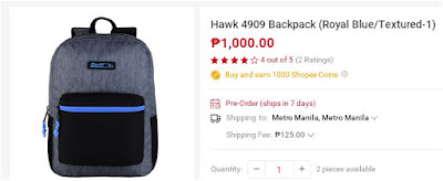 Shopee Hawk Backpack 4909