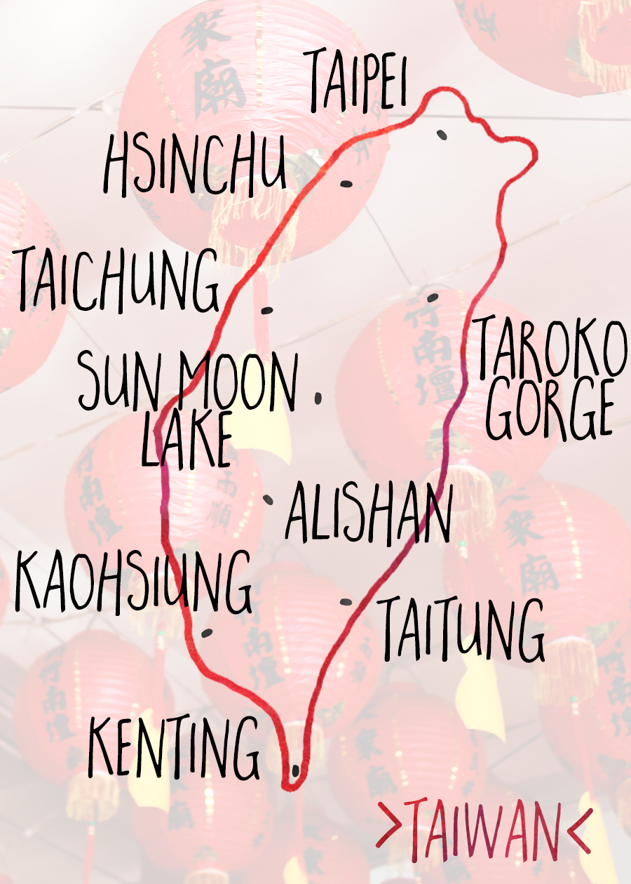 hand drawn map of Taiwan | this posts breaks down some of the most popular and recommended destinations for traveling in Taiwan