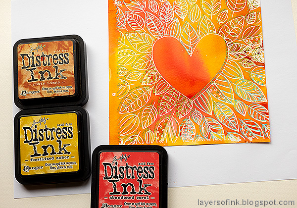 Layers of ink - Inky Heart Autumn Card Tutorial by Anna-Karin Evaldsson. Ink with distress inks.