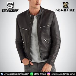 jaket kulit panjang pria