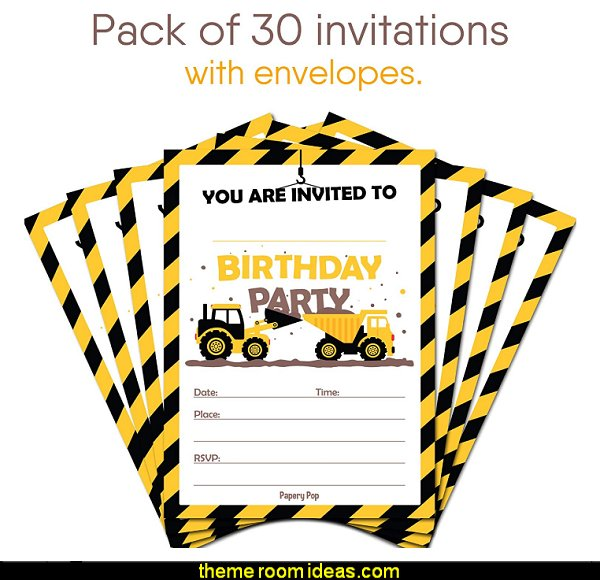Construction Dump Trucks Birthday Invitations