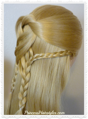 Swirling braids half up hairstyle tutorial.