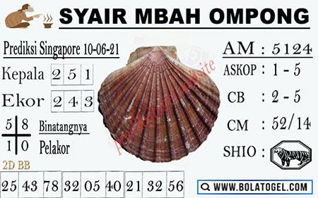 Syair Mbah Ompong SGP Kamis 10-06-2021