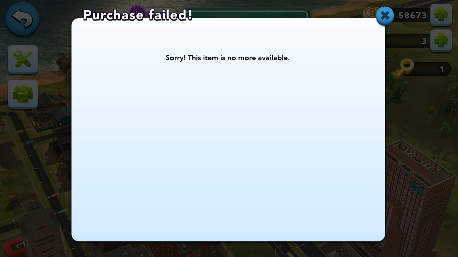 """Purchase Failed! , no more items available for sale"" in SimCity BuildIt"