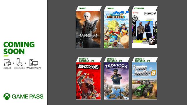 xbox game pass 2021 dragon quest builders 2 tropico 6 ufc 4 bloodroots farming simulator 19 the medium xb1 xsx