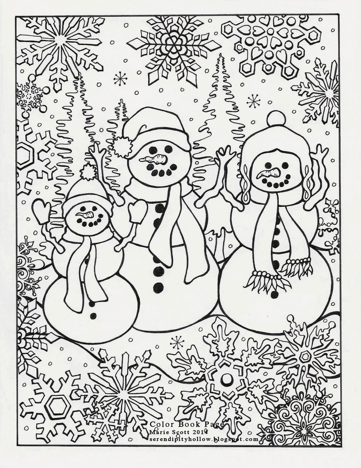 Serendipity Hollow: Winter Coloring Book Page | winter coloring pages for adults