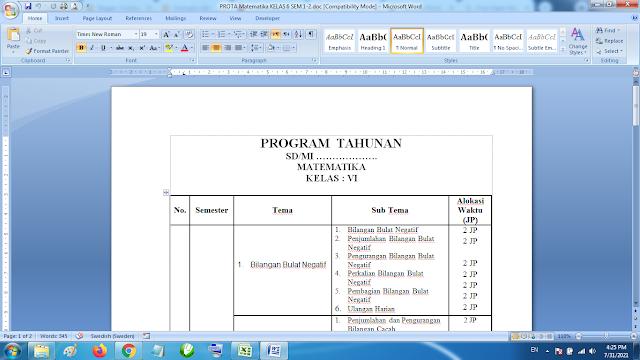 Prota Mapel Matematika Kelas 6 Semester 1 dan 2 K13