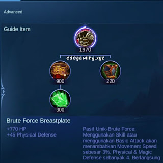 penjelasan lengkap item mobile legends item brute force breastplate