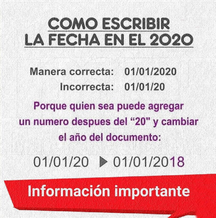 como escribir las fechas en el 2020