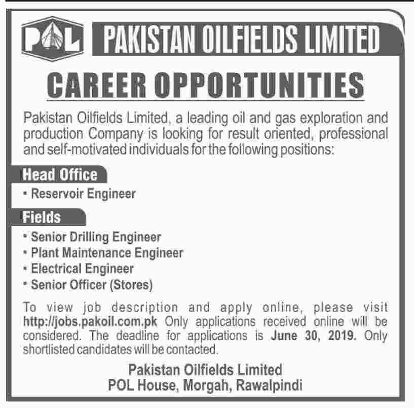 New Jobs Pakistan Oilfields Limited Rawalpindi 24 Jun 2019