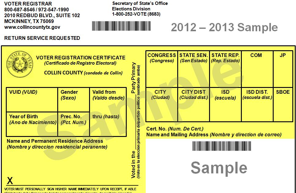 Expired Registration Texas >> Democratic Blog News: Your Voter Registration Card