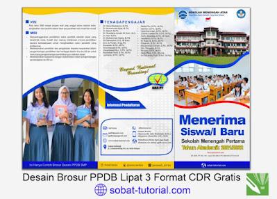 Desain Brosur PPDB Lipat 3 Format CDR Gratis