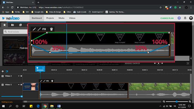 Cách làm video online trên máy tính bằng wevideo - chỉnh sửa âm thanh