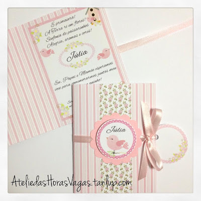 convite artesanal infantil personalizado aniversário 1 aninho jardim encantado floral delicado rosa passarinhos menina