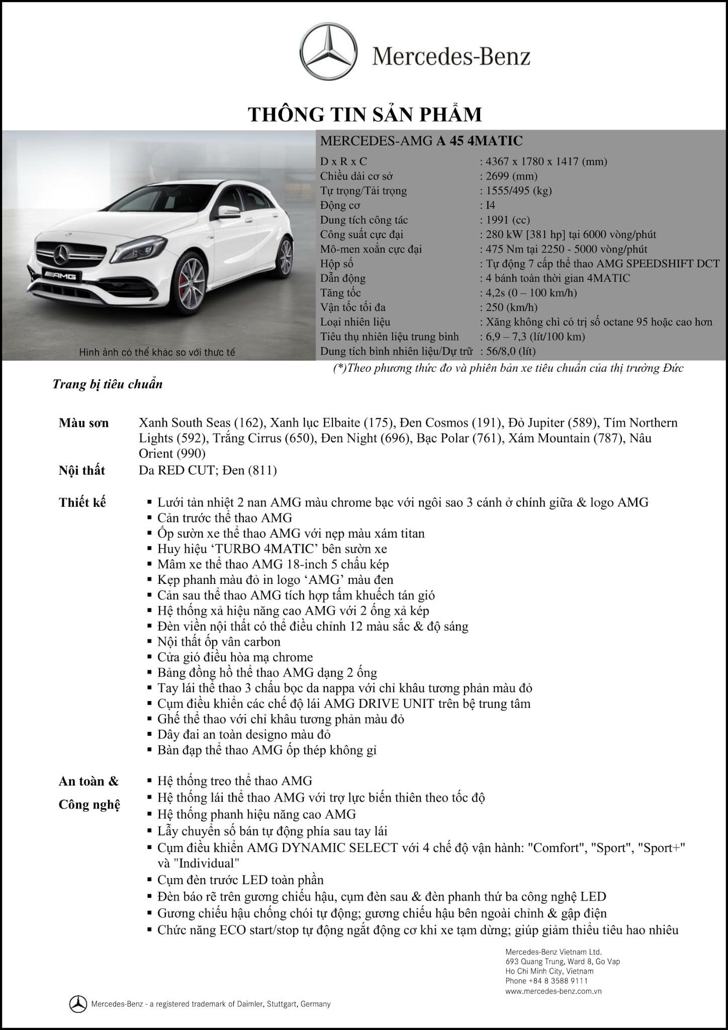 Bảng thông số kỹ thuật Mercedes AMG A45 4MATIC 2018 tại Mercedes Trường Chinh