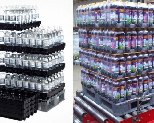 pallet plastii untuk industri minuman botol