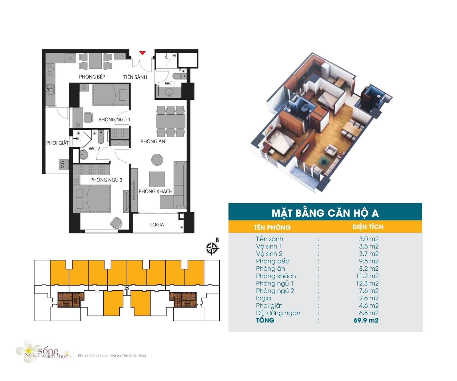 Thiết kế căn hộ 69.9m2 Chung cư 789 Xuân Đỉnh