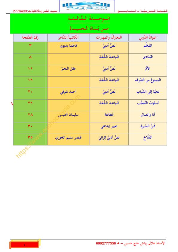شرح الوحدة الثالثة مع تطبيقاتها كاملة,اللغة العربية للصف التاسع