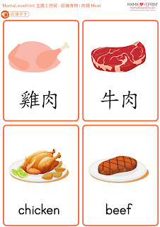 MamaLovePrint 主題工作紙 -  認識食物 - 肉類 雞肉 牛肉 豬肉 工作紙 幼稚園常識 Learning Food - Meat Chicken Pork Beef Worksheets Vocabulary Exercise for Kindergarten School Printable Freebies Daily Activities